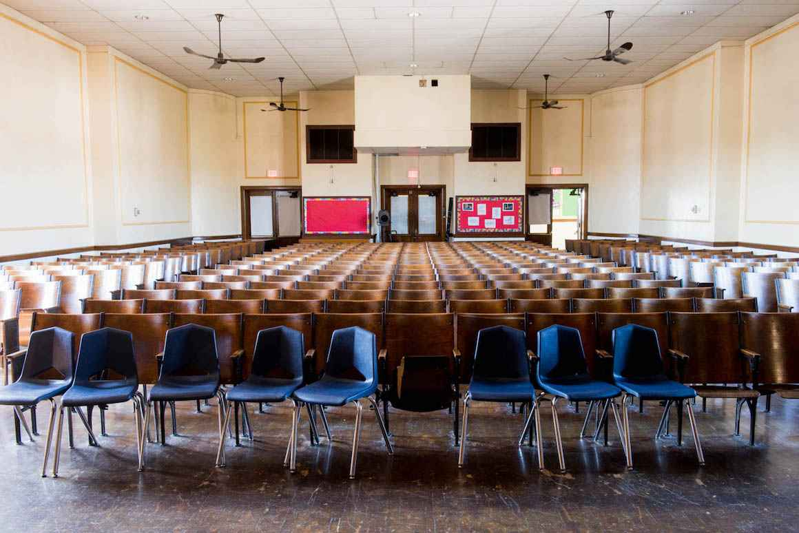 One of many outdated auditoriums in buildings throughout the Hamtramck public-school district.