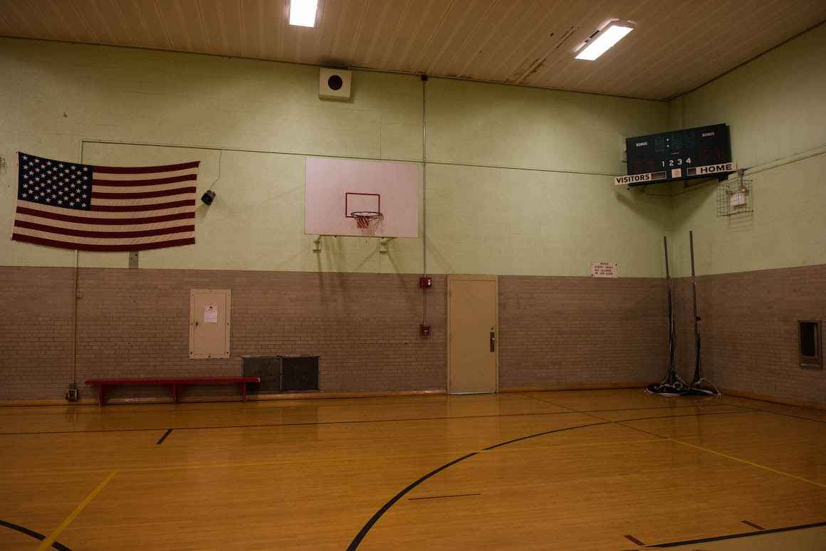 The gymnasium at Nelson Elementary, a PreK-5 school in Muskegon that was erected in 1929 and currently houses around 330 students.