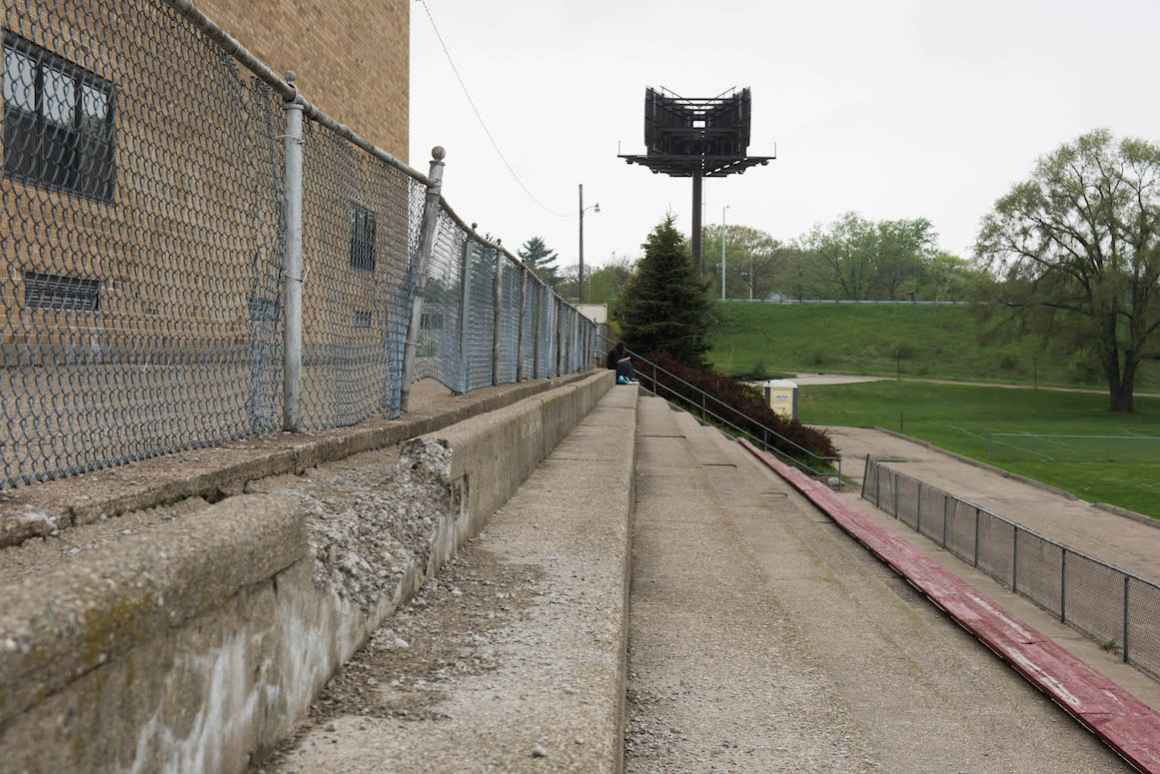 Bleachers crumble at the field around Nelson Elementary School in Muskegon.