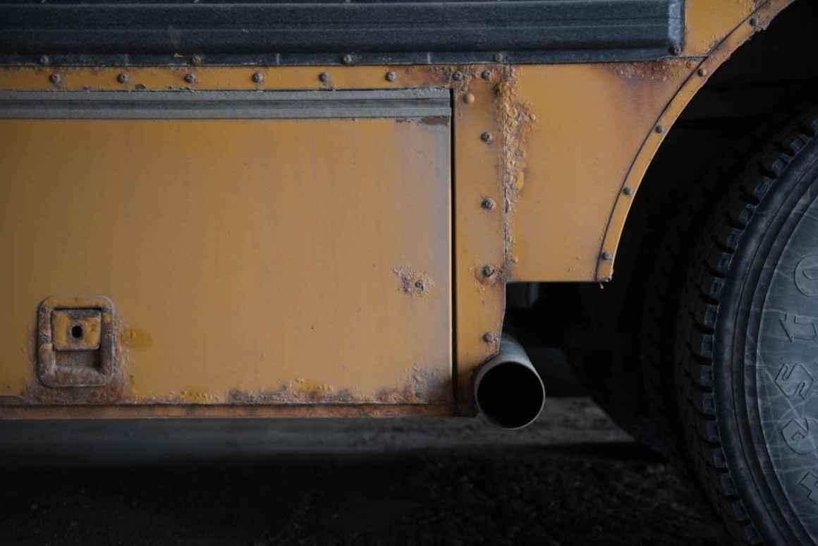 Rust eats away at the buses in Rudyard's aging fleet.