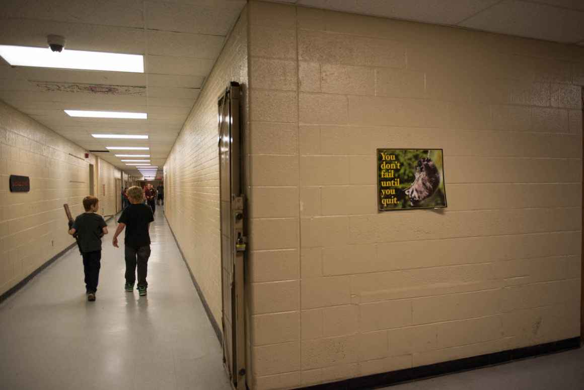 Antiquated security systems are set up throughout the school.