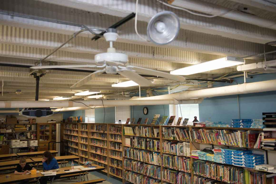 The Sodus cafeteria, auditorium, library and administrative office are all housed in the same room. Stage Lighting consists of clamp-lamps. Wiring runs wild across the room.