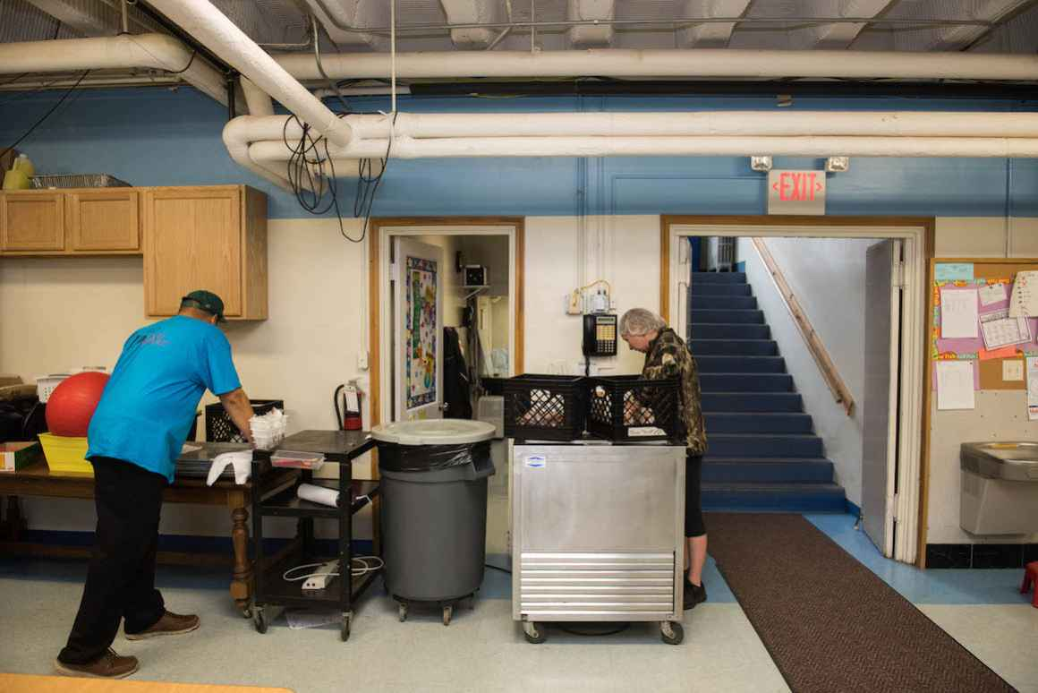 Because the school does not have a kitchen, a contractor must deliver food each day to students--nearly 70% of whom receive free or reduced lunch.
